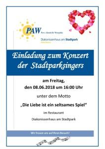 Poster Stadtparksingers-Konzert 08.06.2018